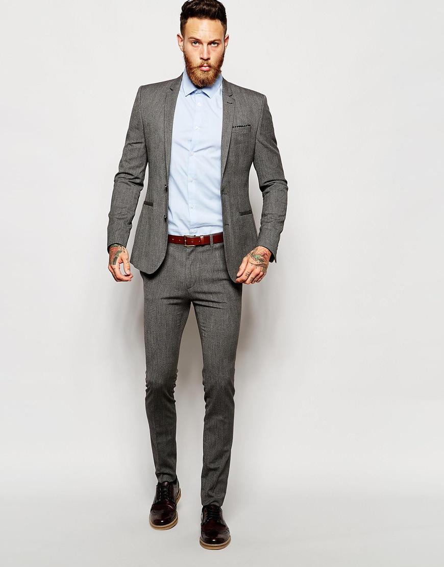 Asos Wedding Super Skinny Suit Trousers In Multi in Gray for Men ...