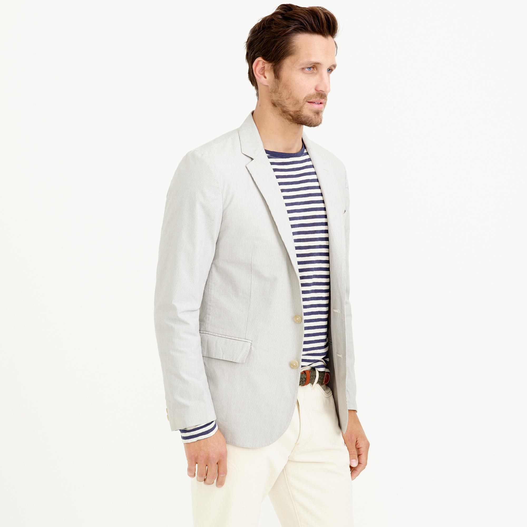 J.crew Ludlow Sportcoat In Fine-striped Cotton in Gray for Men   Lyst