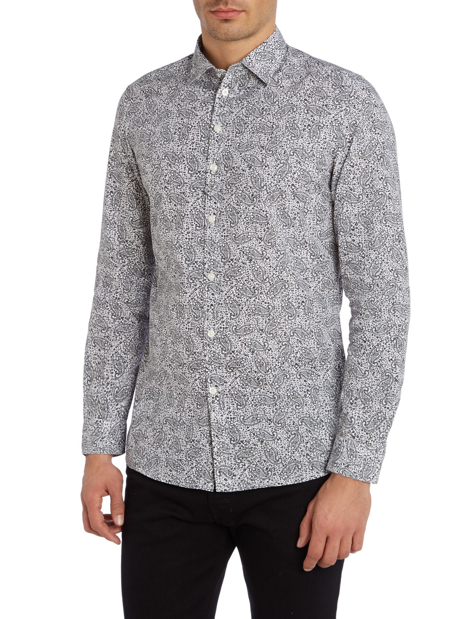 Diesel paisley pattern long sleeve shirt in white for men for Long sleeve shirt pattern