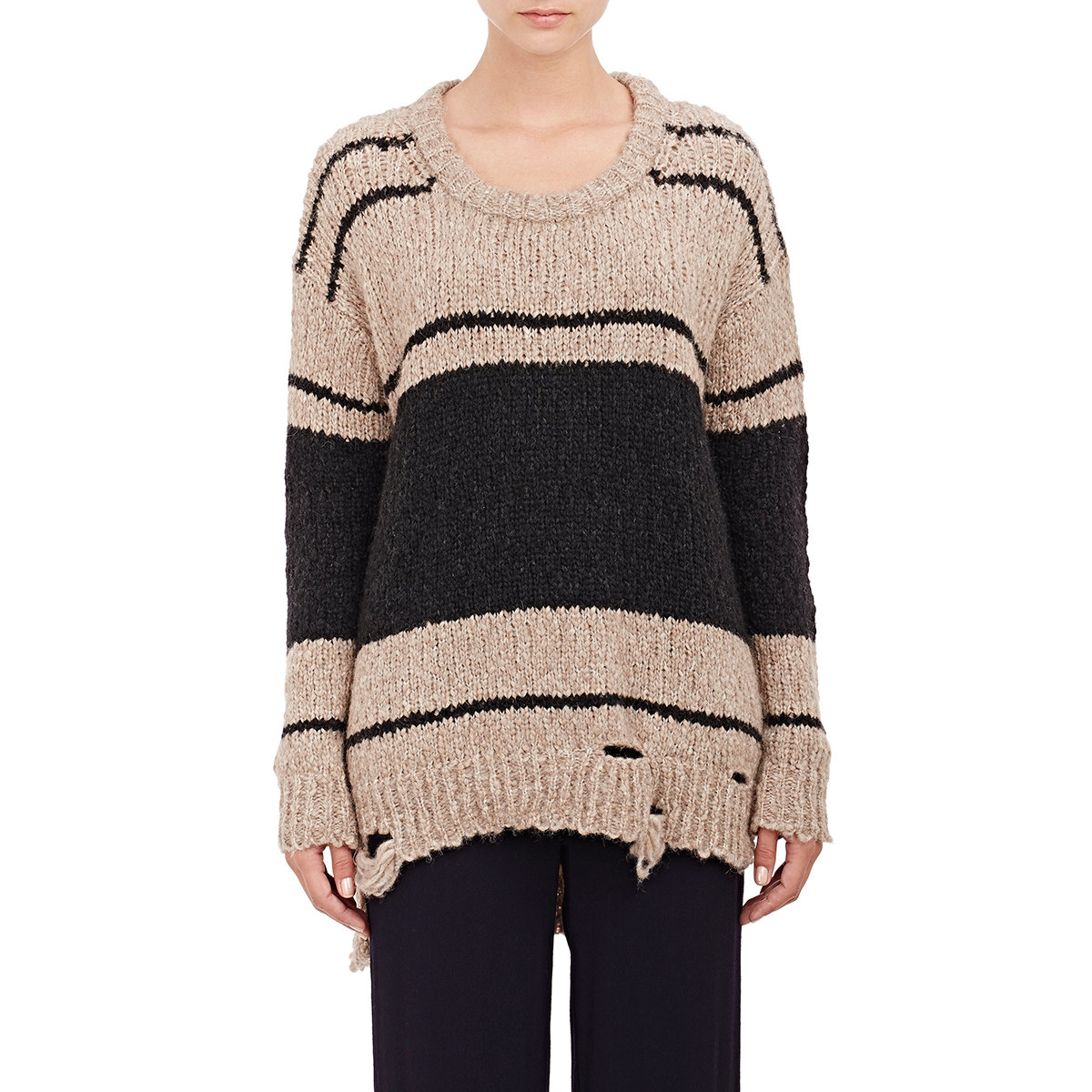 Raquel allegra Womens Distressed Chunky-knit Sweater in Black Lyst