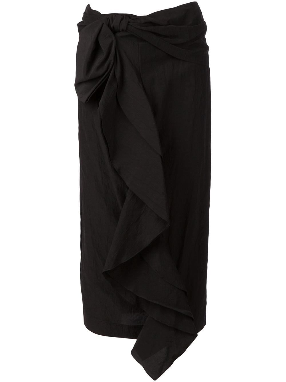 f4e0a9e34d Marni Draped Ruffle Midi Skirt in Black - Lyst