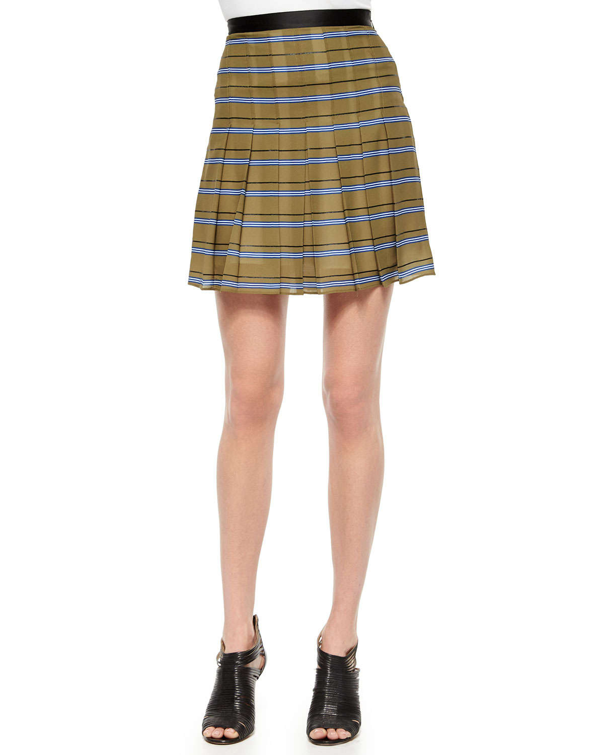 ohne titel striped pleated silk skirt in green olive