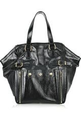 Yves Saint Laurent Downtown Patent-leather Tote - Lyst