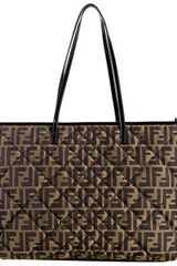 Fendi Tobacco Quilted Zucca Canvas Large Tote in Brown (tobacco) - Lyst