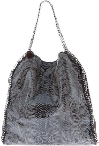Stella Mccartney Falabella Faux Snakeskin Chain Detail Bag