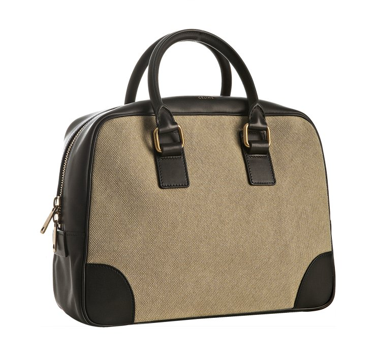 C¨¦line Khaki Canvas Leather Detail Boston Bag in Beige (khaki) | Lyst