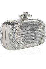 Bottega Veneta Knot Sterling Silver Clutch in Silver - Lyst