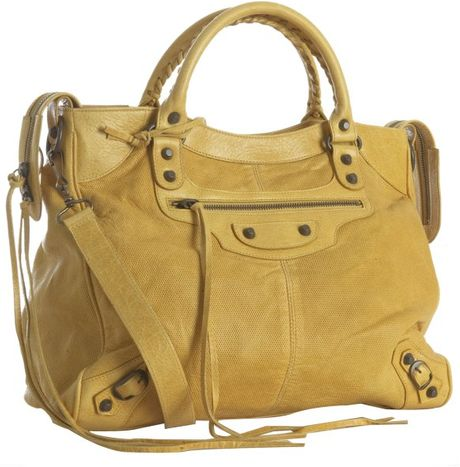 Balenciaga Mustard Lambskin City Medium Satchel in Yellow (mustard) - Lyst