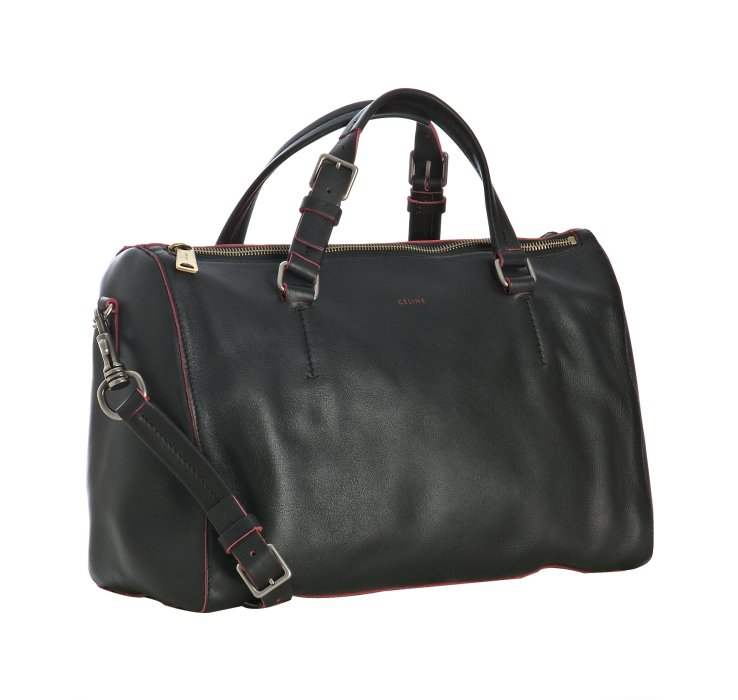 C¨¦line Black Lambskin Boston Bag with Strap in Black | Lyst