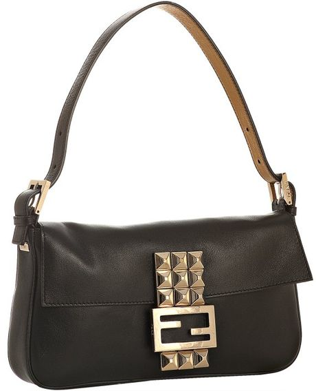 Fendi Black Leather Studded Logo Baguette in Black - Lyst