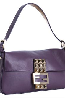 Fendi Purple Leather Studded Logo Baguette - Lyst