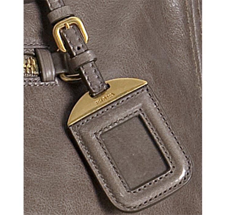 Prada Argilla Vitello Shine Leather Bauletto Satchel in Brown ...