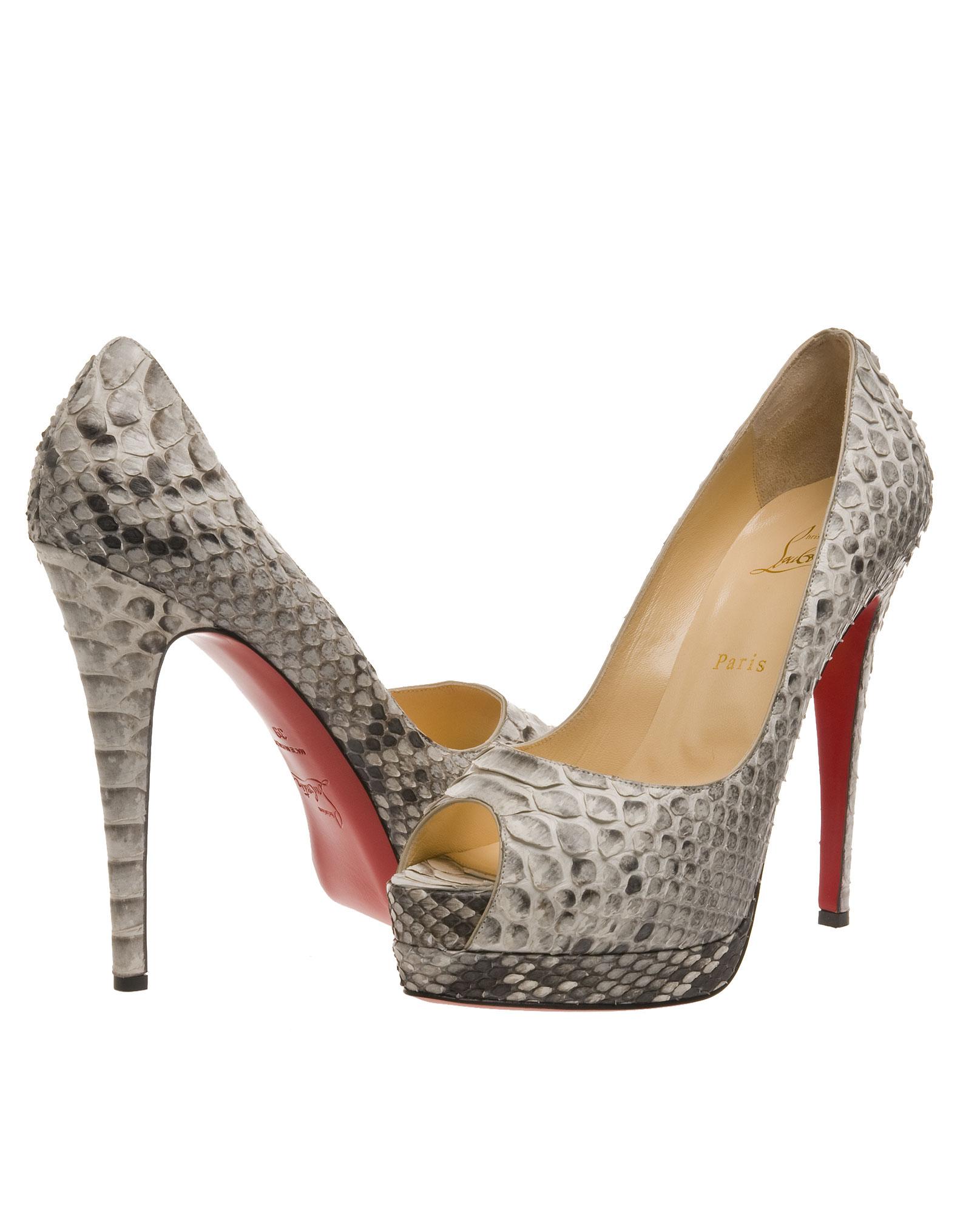 christian louboutin shoe prices - christian louboutin peep-toe pumps Grey snakeskin - Bbridges