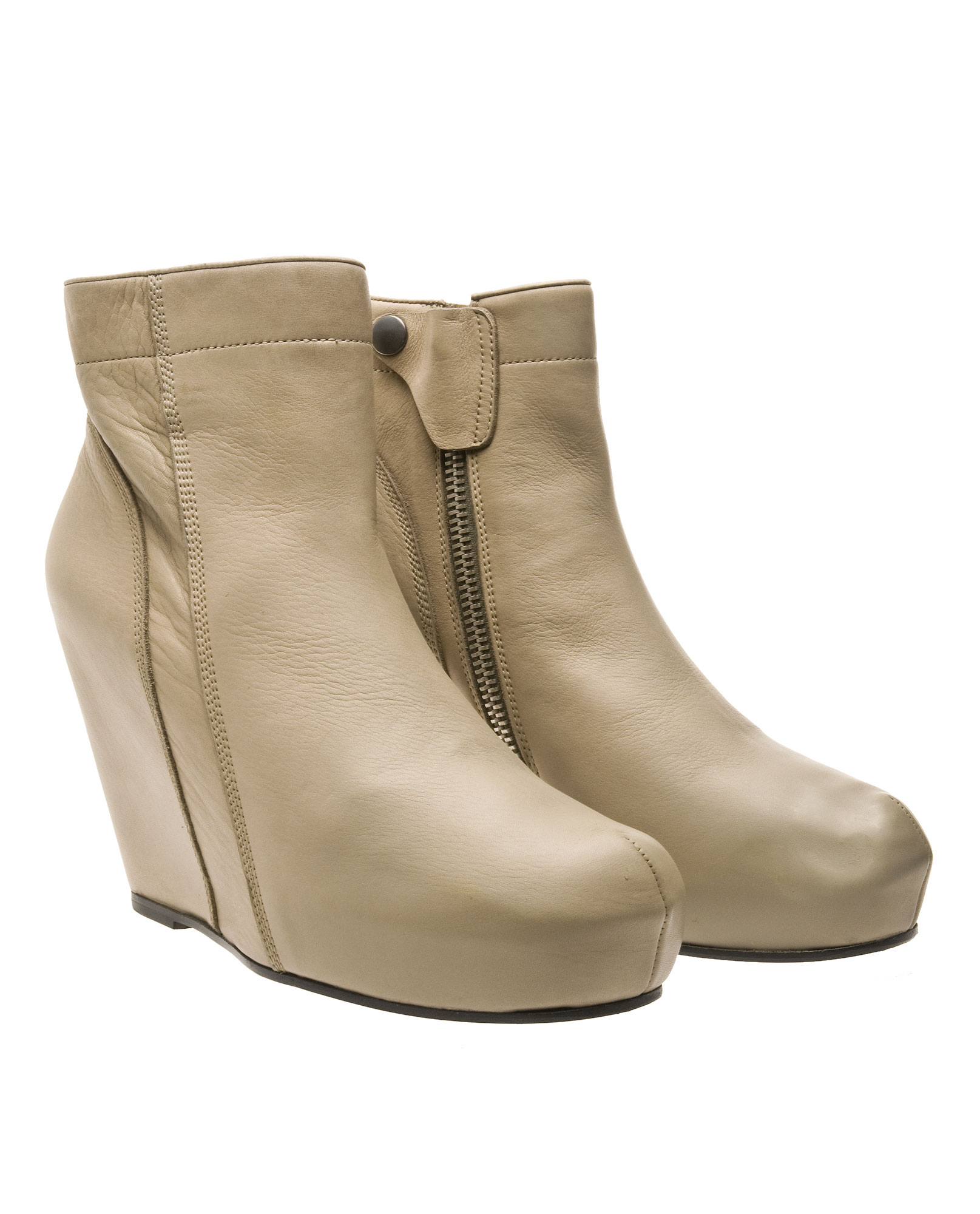 rick owens ankle boots with covered wedge in beige camel