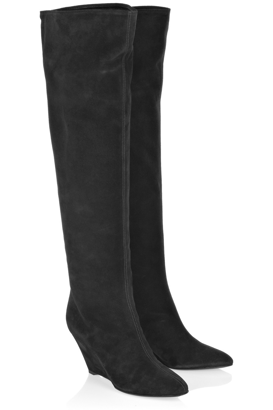 giuseppe zanotti suede knee high wedge boots in gray lyst