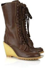 See By Chloé Wedge Lace-up Leather Boots - Lyst