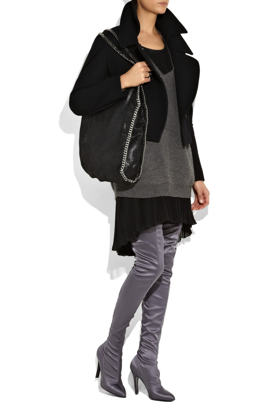cost genuine sale online Stella McCartney Satin Thigh-High Boots store online free shipping newest PCY9Z