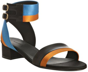 Balenciaga Orange Satin and Leather Ankle Wrap Sandals - Lyst