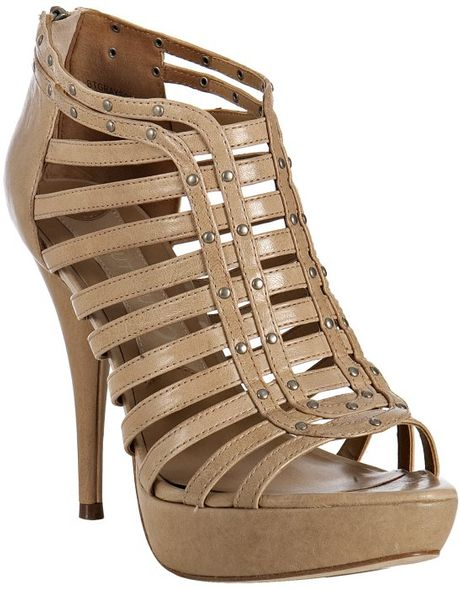 Boutique 9 Light Natural Leather Grayson Strappy Platform Sandals in Beige (natural) - Lyst