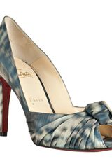 Christian Louboutin Light Blue Fabric Peep Toe Gress 100 Pumps - Lyst