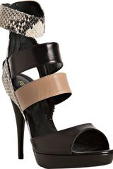 Fendi Black Stamped Snake and Leather Strap Platform Sandals