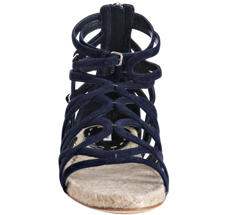 Miu miu Navy Strappy Suede Flat Sandals in Blue | Lyst