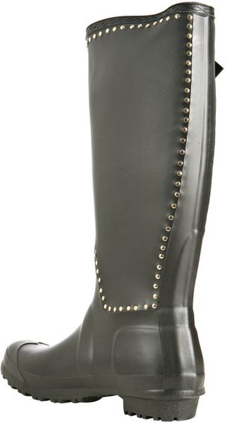 Pour La Victoire Black Studded Ted Rubber Rain Boots In