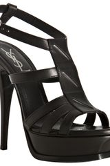 Saint Laurent Black Leather New Riveg Platform Sandals - Lyst