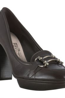 Ferragamo Dark Brown Leather Leann Platform Pumps - Lyst