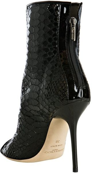 Jimmy Choo Black Embossed Leather And Lace Follow Booties