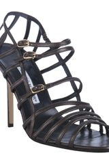 Manolo Blahnik Coffee Leather Amacha Strappy Sandals in Brown (coffee) - Lyst