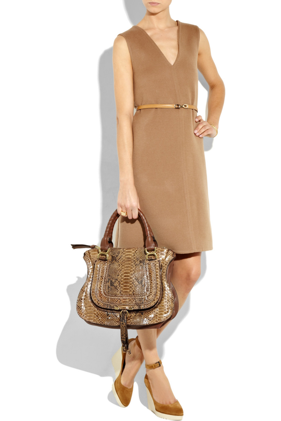 Chlo¨¦ Marcie Leather Messenger Bag in Brown (natural) | Lyst