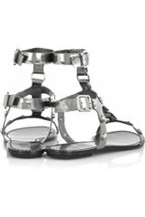 Belle By Sigerson Morrison Metallicleather Gladiator Sandals in Silver - Lyst