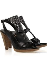 Belle By Sigerson Morrison Eyelet-detailed Patent Sandals - Lyst