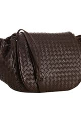 Bottega Veneta Brown Woven Nappa Cross Body Flap Bag - Lyst