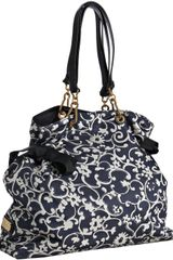 Marc Jacobs Black Paisley Fabric Bow Detail Tote