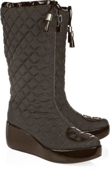 Tory Burch Quilted Canvas Snow Boots In Brown Lyst
