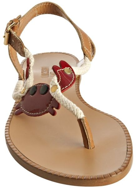 Moschino Love Light Brown Leather Crab Thong Flat Sandals