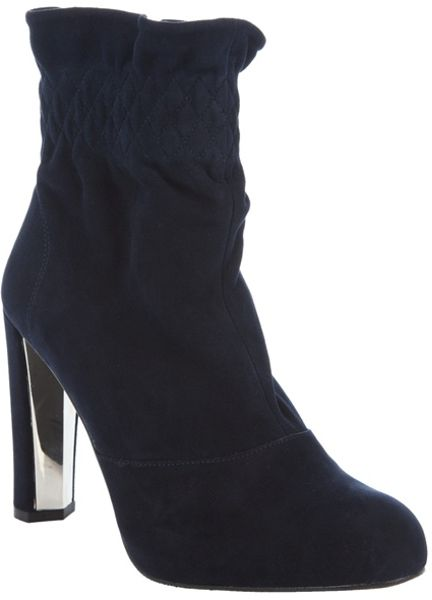 stuart weitzman suede ankle boot in blue navy lyst
