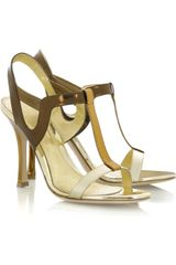 Sergio Rossi Metallic Leather Sandals - Lyst