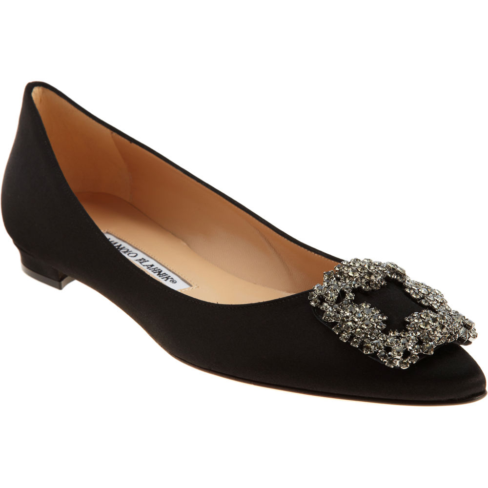 Manolo blahnik hangisi in black lyst for Shoe designer manolo blahnik