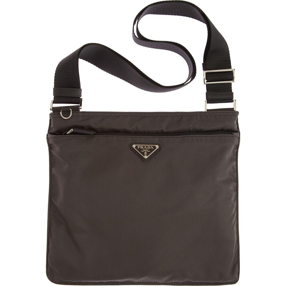 prada vela flat messenger bag in gray grey lyst. Black Bedroom Furniture Sets. Home Design Ideas