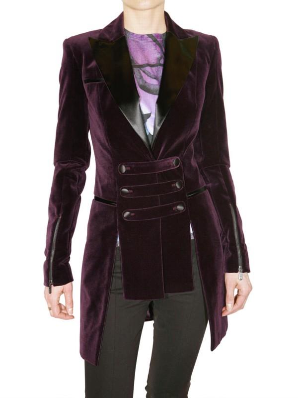 Versus Velvet Blazer With Strap Details In Purple Lyst