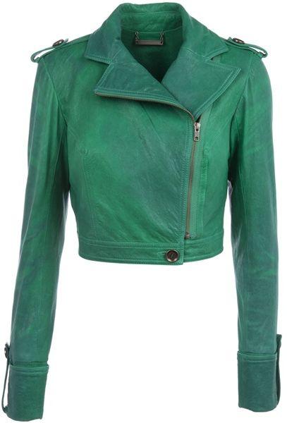Diane Von Furstenberg Alphie Cropped Biker Jacket in Green