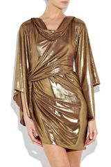 Halston Heritage Twisted Lamé Dress in Gold - Lyst