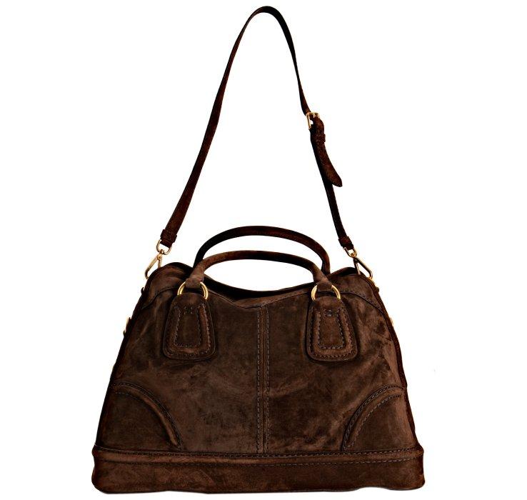 prada brown bowling style bag