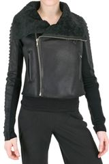 Rick Owens Shearling Corduroy Biker Leather Jacket - Lyst