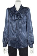 See By Chloé Star Print Silk Blouse in Blue - Lyst
