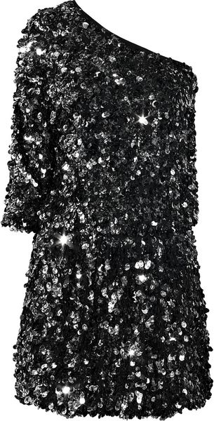 Tibi One-shoulder Sequined Silk Dress - Lyst