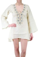Vicedomini Embroidered Linen Kaftan Shirt - Lyst